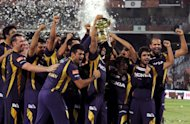Kolkata Knight Riders celebrate after winning the IPL Twenty20 cricket final match against Chennai Super Kings (CSK) at the MA Chidambaram Stadium in Chennai