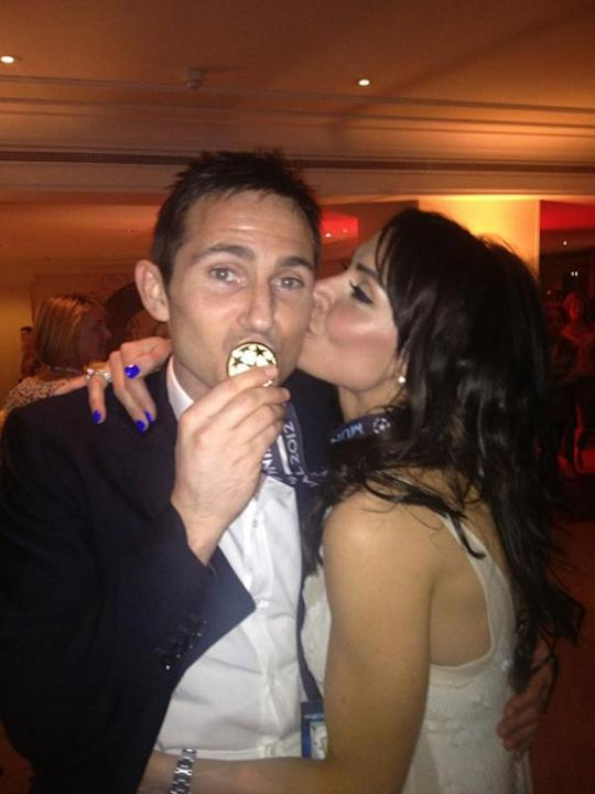 Celebrity photos: After Chelsea's win over the weekend, Frank Lampard was congratulated by his fiancée Christine Bleakley. She posted this picture of the pair on Twitter. Check out her Chelsea-inspire