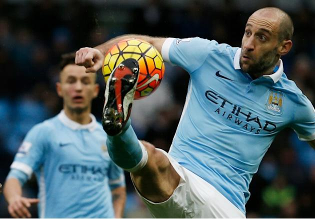 Manchester City defender Pablo Zabaleta during the Premier League match against Leicester City at the Etihad Stadium on February 6, 2016