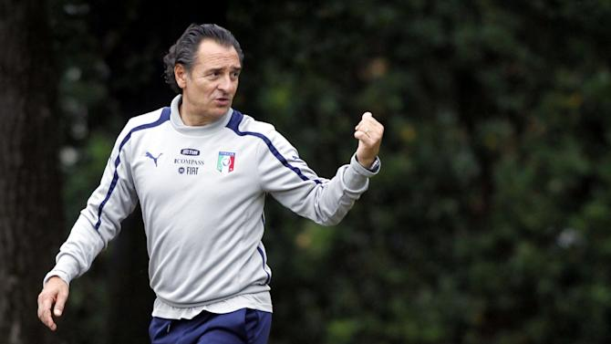 Italy coach Cesare Prandelli gestures a training session at the Coverciano training grounds, near Florence, Italy, Monday, Oct. 7, 2013. Italy is scheduled to play a World Cup qualifier soccer match against Denmark, in Copenhagen, Friday, Oct. 11