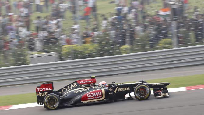 Lotus F1 Formula One driver Grosjean drives during the Indian F1 Grand Prix at the Buddh International Circuit in Greater Noida
