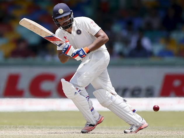India's Sharma plays a shot during the fourth day of their third and final test cricket match against Sri Lanka in Colombo