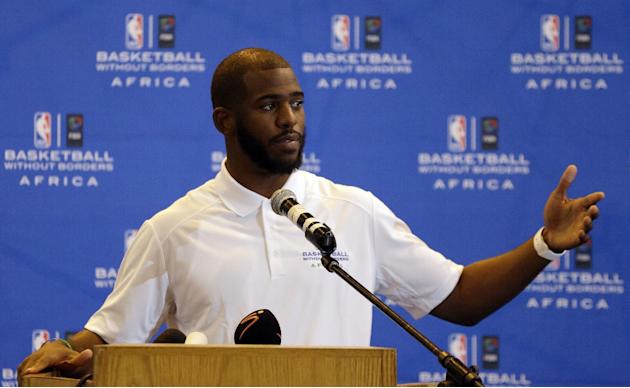 NBA basketball player Chris Paul of Los Angeles Clippers speaks during a press conference for the Basketball without Borders Africa 2015 at the American International School in Johannesburg, South Afr