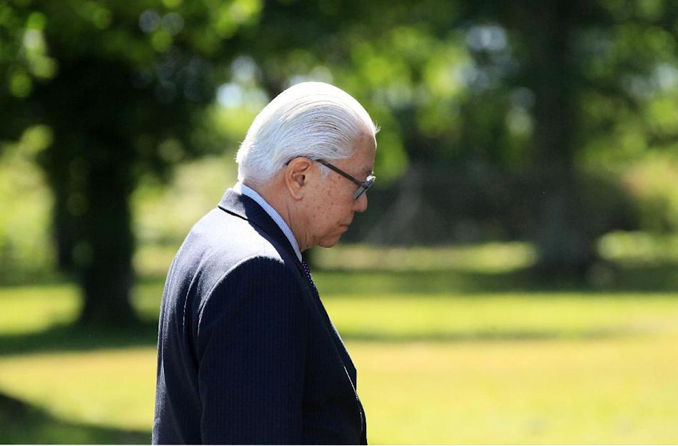 Singapore's President Tony Tan is seen during a visit to the french Air Force base at Cazaux, near Bordeaux, southwestern France, Thursday, May 21, 2015. Tony Tan is on a six-day state visit in Fr
