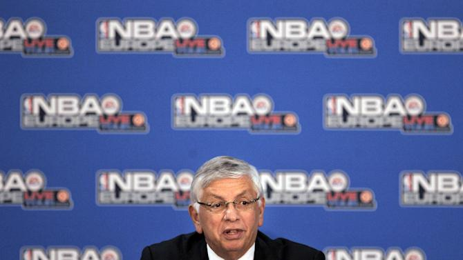 FILE - In this Oct. 11, 2007, file photo, NBA Commissioner David Stern talks during an NBA Europe basketball news conference in Madrid. He is not in the Hall of Fame, he never played in an All-Star game and he is about a foot shorter than most NBA stars. But try to find an NBA legacy more lasting than Stern's, who is retiring Saturday, Feb. 1, 2014 after exactly 30 years on the job. (AP Photo/Bernat Armangue, File)
