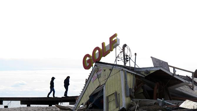 A mini-golf course on the boardwalk in  Point Pleasant Beach N.J., shown here on Nov. 1, 2012, was destroyed by Hurricane Sandy. The storm wrecked boardwalks and amusements up and down the 127-mile Jersey shore. (AP Photo/Wayne Parry)