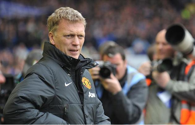 Manchester United manager David Moyes pictured during the English Premier League match against Everton at Goodison Park in Liverpool on April 20, 2014
