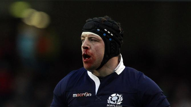 Scotland's Dickinson reacts in the Six Nations rugby union match against Ireland at the Aviva stadium in Dublin
