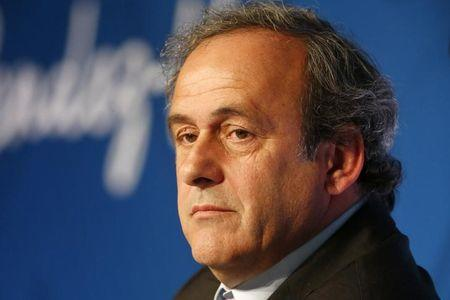 UEFA President Michel Platini holds a news conference a year before the start of Euro 2016, in Paris