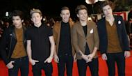 Members of One Direction arrive at the Palais des Festivals during the 14th Annual NRJ Music Awards on January 26, 2013 in Cannes, France. Some of the top names in British pop including One Direction and Mumford and Sons will gather on Wednesday for the biggest night in the musical calendar when the annual Brit Awards are held at London's O2 Arena