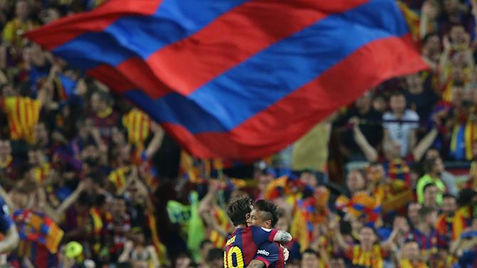 SOC: Neymar celebrates with Lionel Messi after scoring the second goal for Barcelona