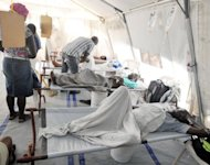 New Cholera patients are treated at a M�decins Sans Fronti�re clinic November 7 2012 in Delmas, Haiti. Victims of a Haiti cholera epidemic widely blamed on UN peacekeepers gave the United Nations 60 days to clinch a compensation deal or face a lawsuit demand for billions of dollars