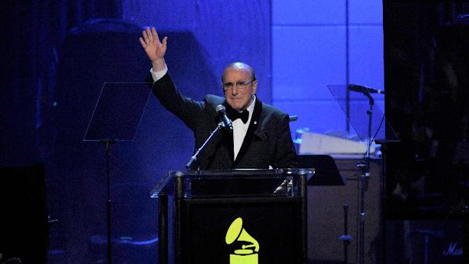 Music producer Clive Davis speaks at his Pre-GRAMMY Gala on Saturday, Feb. 9, 2013 in Beverly Hills, Calif. (Photo by Chris Pizzello/Invision/AP)
