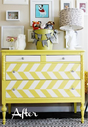 Herringbone Yellow Painted Dresser