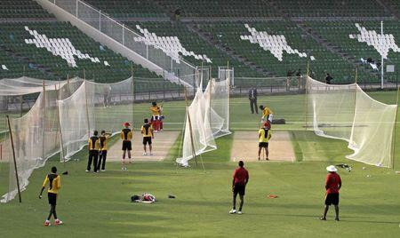 Zimbabwean cricketers train during a net practice session at the Gaddafi Stadium in Lahore