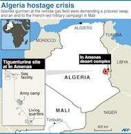 Map locating the gas field attacked by self-proclaimed Al-Qaeda gunmen. The Al-Qaeda-linked gunmen, cited by Mauritania's ANI news agency, said they still held seven foreigners at the site deep in the Sahara near the border with Libya