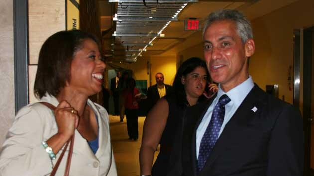 Chicago Mayor Rahm Emanuel chats in the hallway after an interview in the arena at the Democratic National Convention on Wednesday Sept. 5, 2012. (Torrey AndersonSchoepe/Yahoo! News)