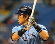 Hideki Matsui of the Tampa Bay Rays bats on July 22, 2012 at Tropicana Field in St. Petersburg, Florida. Matsui, a Japanese outfielder who was Most Valuable Player of the 2009 World Series won by the New York Yankees, will sign a one-day contract in July so he can retire as a member of the Yankees