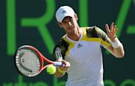 Andy Murray of Great Britain plays a forehand against Marin Cilic of Croatia during their quarter-final match at the Sony Open at Crandon Park Tennis Center in Key Biscayne, Florida, on March 28, 2013. Murray won 6-4, 6-3