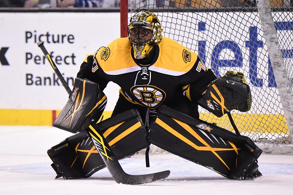BOSTON, MA - FEBRUARY 2 : Malcolm Subban #70 of the Boston Bruins in the net for warm ups before the game against the Toronto Maple Leafs at the TD Garden on February 2, 2016 in Boston, Massachusetts. (Photo by Brian Babineau/NHLI via Getty Images)