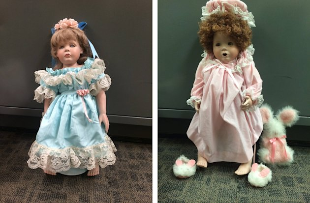 Two of the porcelain dolls found on doorsteps of numerous residences in San Clemente, California.