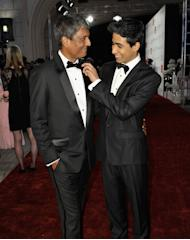"DUBAI, UNITED ARAB EMIRATES - DECEMBER 09: Actors Adil Hussain and Suraj Sharma attend the ""Life of PI"" Opening Gala during day one of the 9th Annual Dubai International Film Festival held at the Madinat Jumeriah Complex on December 9, 2012 in Dubai, United Arab Emirates. (Photo by Gareth Cattermole/Getty Images for DIFF)"