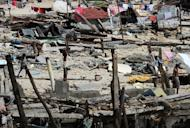Destroyed houses are seen in the town of Hernani, Eastern Samar province, in the central Philippines on November 18, 2013, after Super Typhoon Haiyan devastated the area
