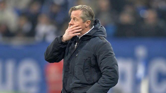 Schalke head coach Jens Keller  after his team conceded the third goal before half time during the German soccer cup third round match between FC Schalke 04 and TSG Hoffenheim in Gelsenkirchen, Germany, Tuesday, Dec. 3, 2013