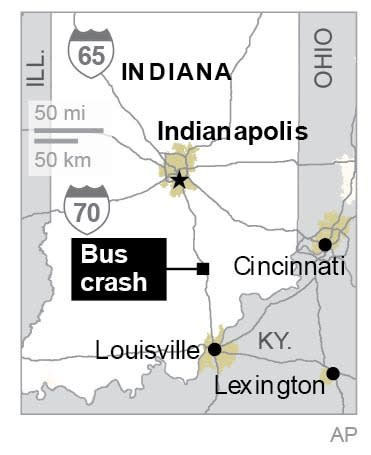 2 dozen injured in southern Indiana bus crash