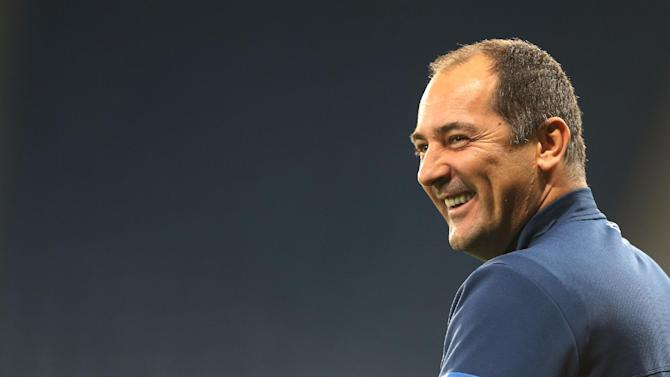 Croatia's manager Igor Stimac looks on during a team training session at Hampden Park, Glasgow, Scotland, Monday Oct. 14, 2013. Croatia face Scotland in a World Cup qualifying Group A  soccer match on Tuesday