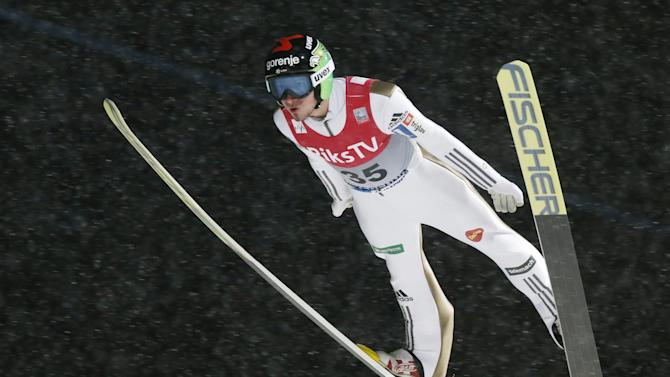Robert Kranjec of Slovenia soars in the air during the FIS Ski Jumping World Cup Flying Hill competition in Vikersund