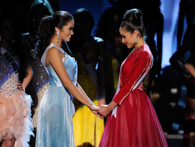 LAS VEGAS, NV - DECEMBER 19: Miss Philippines 2012, Janine Tugonon (L), and Miss USA 2012, Olivia Culpo, wait for the judges' final decision during the 2012 Miss Universe Pageant at PH Live at Planet Hollywood Resort & Casino on December 19, 2012 in Las Vegas, Nevada. Culpo went on to be crowned the new Miss Universe and Tugonon was the first runner-up. (Photo by David Becker/Getty Images)
