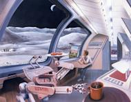 An artist's vision of a future moon settlement envisions high-tech surroundings juxtaposed with some normal elements of everyday life: donuts.