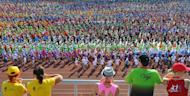 Dancers are seen during a rehearsal for the Song and Dance festival in Riga, Latvia, on July 4, 2013. Nearly 40,000 people or two percent of Latvia's population take to the stage -- a per capita equivalent of one million singers and dancers in France