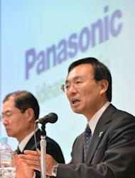 Panasonic's president Kazuhiro Tsuga answers questions during a press conference to announce the company's financial results in Tokyo. Panasonic, like rivals Sony and Sharp, which report earnings later Thursday, has suffered in its television business amid falling prices and stiff competition from overseas rivals, while a strong yen has also hit Japanese manufacturers