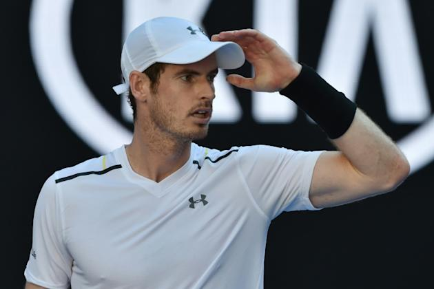 Britain's Andy Murray reacts after a point against Germany's Mischa Zverev during their men's singles match of the Australian Open in Melbourne on January 22, 2017