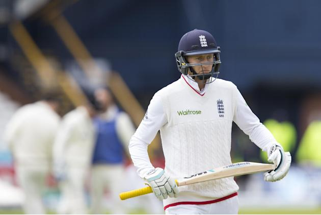 England's Joe Root walks from the pitch after loosing his wicket for 0, caught by New Zealand's Tom Latham off the bowling of Mark Craig on the fifth day of the second Test match between Engla