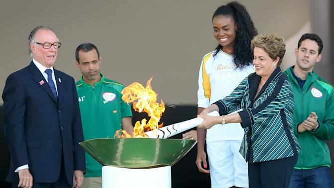 Olympic flame arrives in Brazil