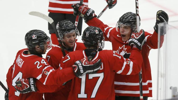 Canada's Connor McDavid celebrates his goal against United States during the third period of their IIHF World Junior Championship ice hockey game in Malmo