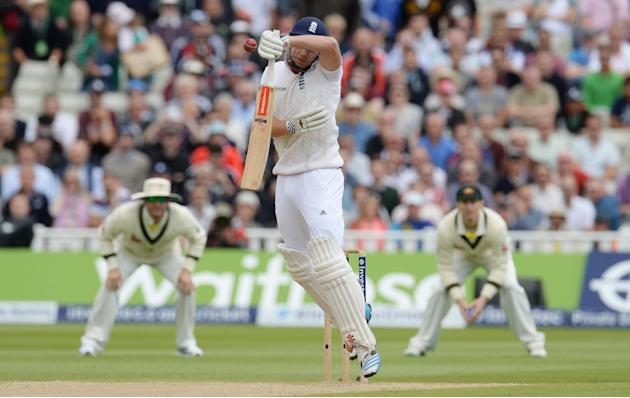 England's Jonny Bairstow edges the ball and is caught