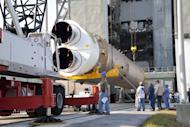 An RD-180 engine and Atlas 5 first stage arrive at the launch pad in Florida.