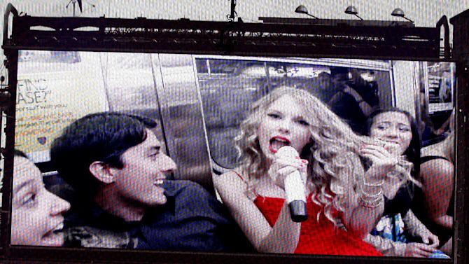 Taylor Swift perfoms on a video screen during the 2009 MTV Video Music Awards at Radio City Music Hall on September 13, 2009 in New York City.