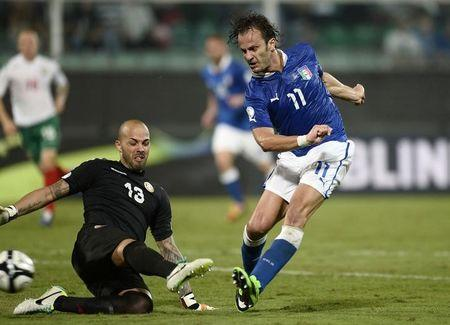 Italy's Gilardino shoots as he is challenged by Bulgaria goalkeeper Mihaylov during their World Cup qualifying soccer match at the Renzo Barbera Stadium in Palermo
