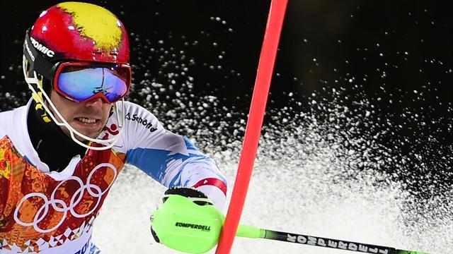 Alpine Skiing - Hirscher wins historic third-in-a-row World Cup crown