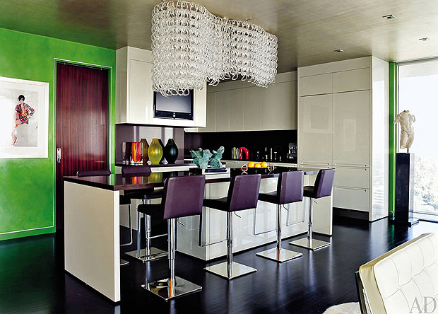 Elton John and David Furnish's kitchen in Los Angeles. Tim Street-Porter/AD