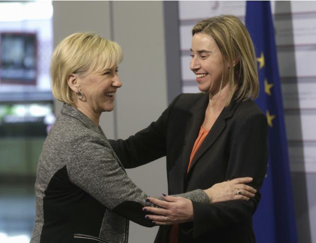 European Union Foreign Policy Chief Mogherini greets Sweden's Minister of Foreign Affairs Wallstrom during the informal European Union Ministers of Foreign Affairs meeting in Riga