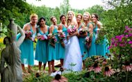 The bridesmaids and bride at a wedding.