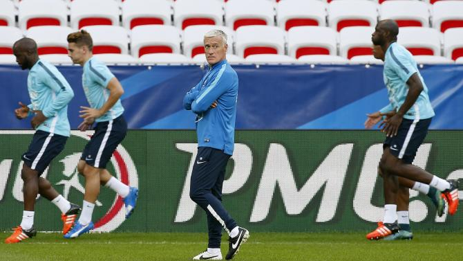 France's national soccer team coach Didier Deschamps attends a training session at Allianz Riviera stadium in Nice