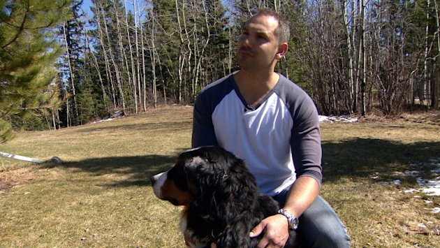 Elvis Xerri fights off cougar to save girlfriend's dog southwest of Calgary.