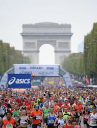 Runners at the Paris Marathon on April 15, 2012